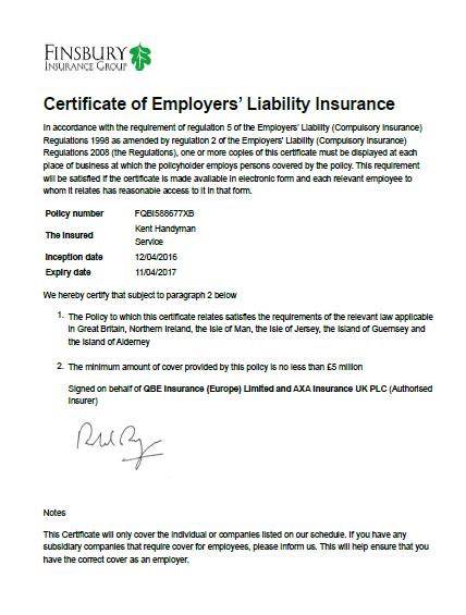 Kent Handyman Service liability insurance